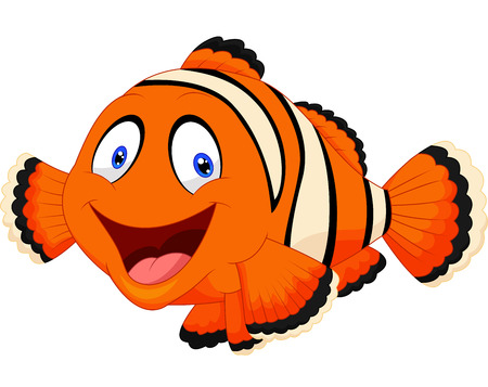 fish water: Cute clown fish cartoon