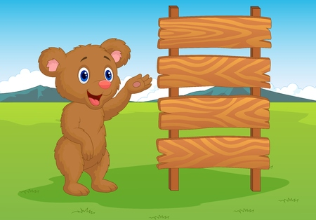 brown bear: Cartoon baby bear with wooden sign