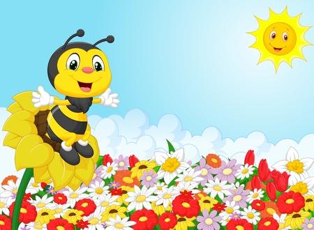 Cartoon bee sitting on the flower Vettoriali