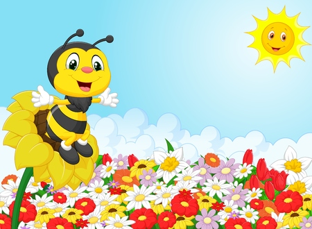 Cartoon bee sitting on the flower Vectores