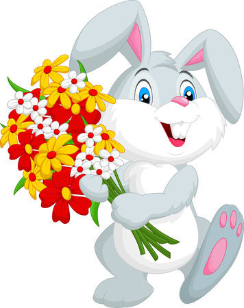 Cute little rabbit holding a bouquet Vector