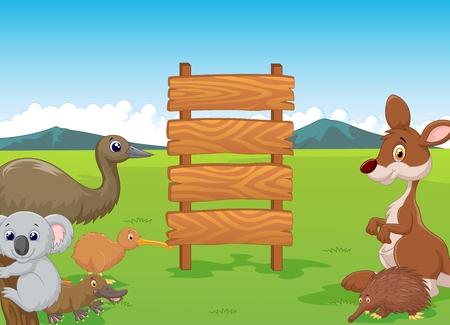 emu: Dibujos animados Australia salvaje con cartel de madera
