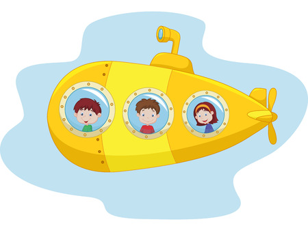 submarine: Cartoon yellow submarine