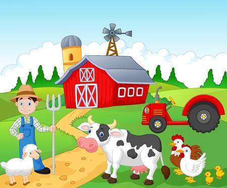 農民の農場で作業  イラスト・ベクター素材
