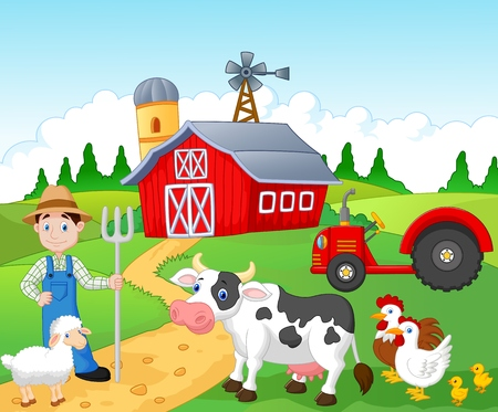 Farmer working in the farm Vector