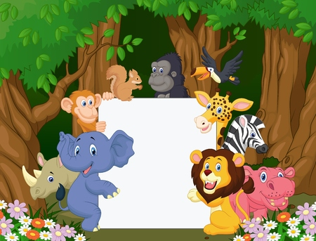 animals together: Cartoon wild animal holding blank sign Illustration