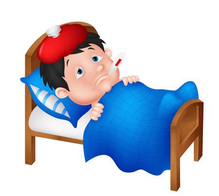 ni�os enfermos: Muchacho enfermo acostado en la cama
