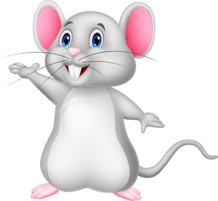Cute mouse cartoon waving Vector
