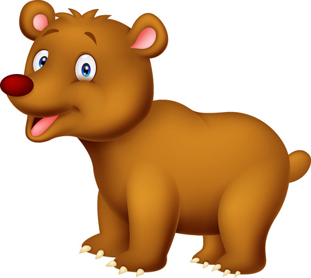 Cute cartoon brown bear Vector
