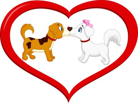 cute cartoon dog: Cute cartoon dog kissing each other