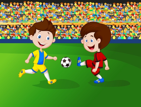 soccer field: Cartoon boy playing football
