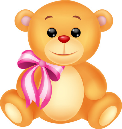 stuffed animals: Cute bear cartoon sitting