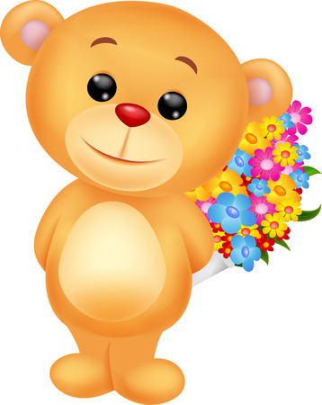 Bear cartoon with flowers Vector