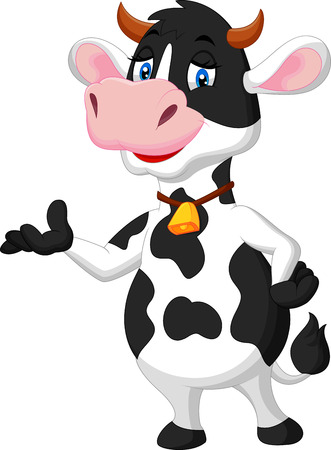 standing: Cute cow cartoon presenting