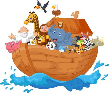 oso panda: Noé arca de dibujos animados