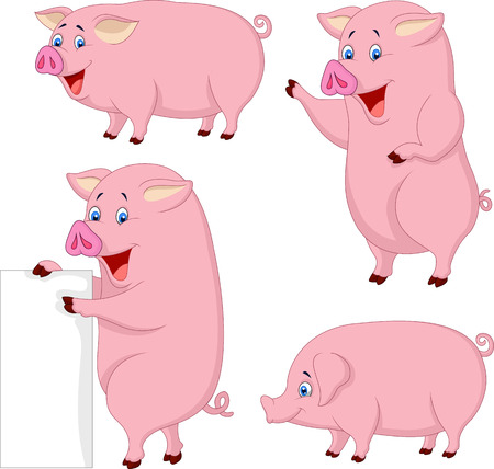 Cartoon fat pig collection Vector