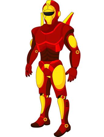 Cartoon red humanoid robot Vector