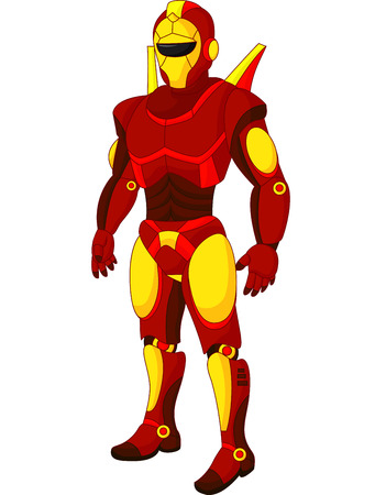 Cartoon red humanoid robot Illustration