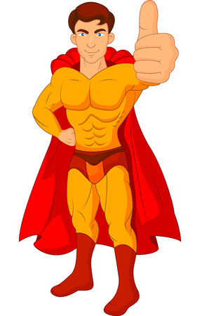 Superhero cartoon giving thumb up Vector