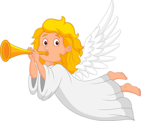 Cartoon angel with trumpet Vector