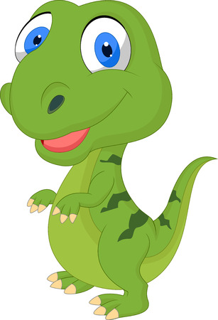 Cute cartoon green dinosaur Vector