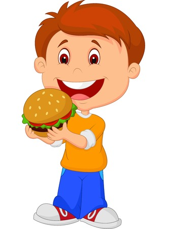 hungry kid: Cartoon boy eating burger Illustration