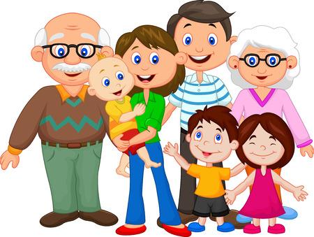 gens heureux: Famille heureuse de bande dessin�e