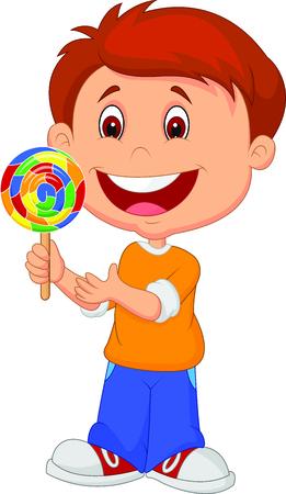 Little boy holding lollipop candy Vector