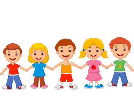Little children holding hands Vector