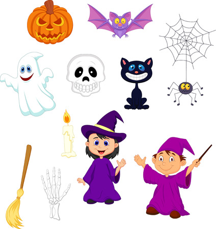 Halloween cartoon set Vector