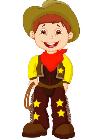 west: Cute young cowboy holding lasso