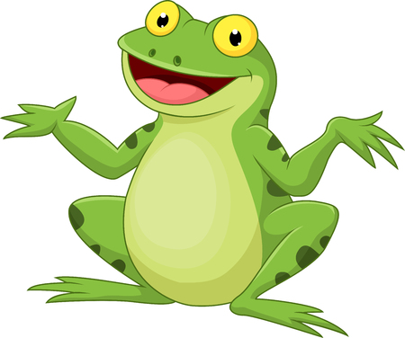 frolic: Funny cartoon green frog
