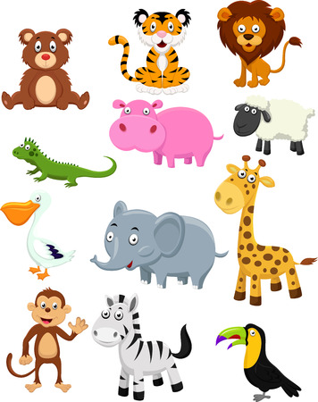 hipopotamo caricatura: Animales salvajes conjunto de la colecci�n de dibujos animados