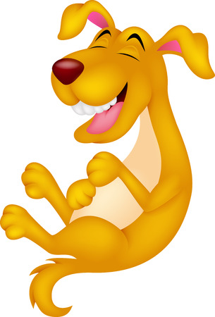 cute cartoon dog: Cute cartoon dog laughing Illustration