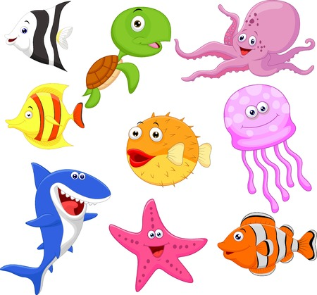 Cute sea life cartoon collection Vector