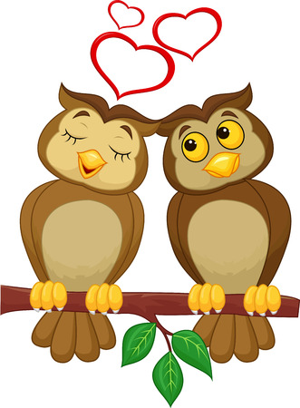 owl illustration: Cute couple cartoon owl in love