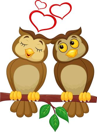 a pair: Cute couple cartoon owl in love