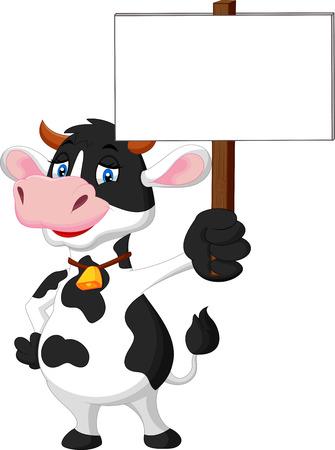 Funny cartoon cow holding blank sign  イラスト・ベクター素材