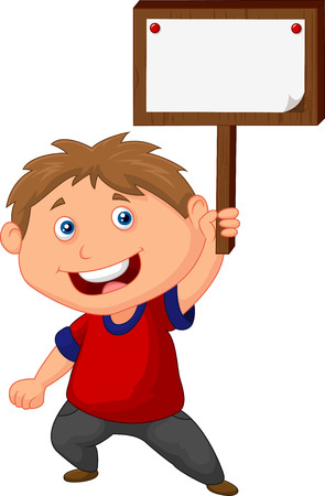 little boy holding blank sign Vector