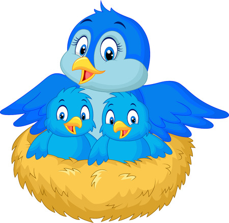 Mother bird with her two babies in the nest Illustration