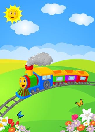 Happy cartoon locomotive Vettoriali