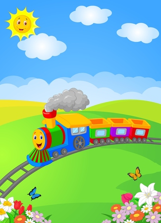 Happy cartoon locomotive Иллюстрация