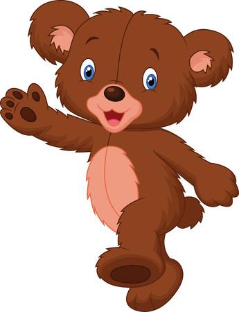 Happy cartoon baby bear Vector