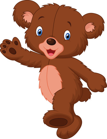 Happy cartoon baby bear Vector