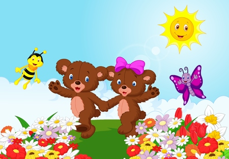 Happy baby bear cartoon Vector