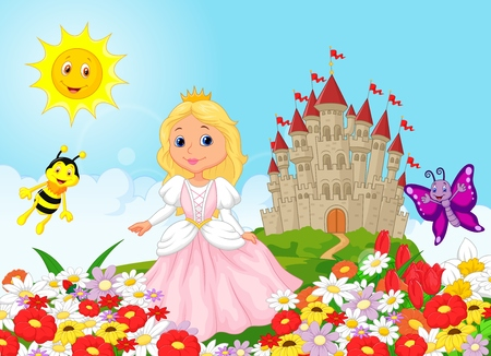 Cute princess in the floral garden Vector