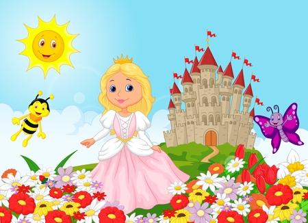 Cute princess in the floral garden Stock Vector - 30338230