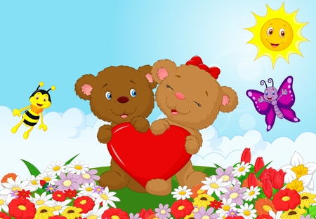 bush babies: Happy bear holding red heart Illustration