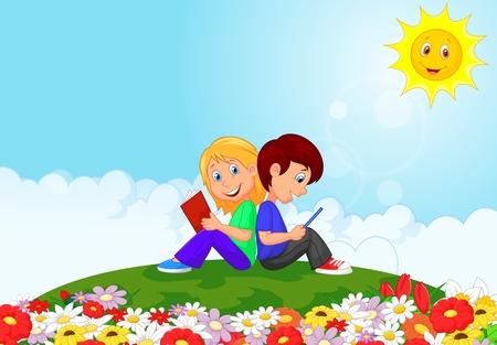 escuela caricatura: El muchacho y la chica de lectura de libros en el jardín de flores