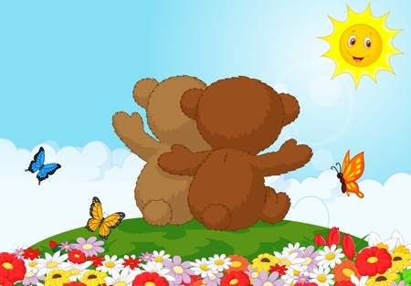 Back view of two teddy bears sitting in the garden Vector